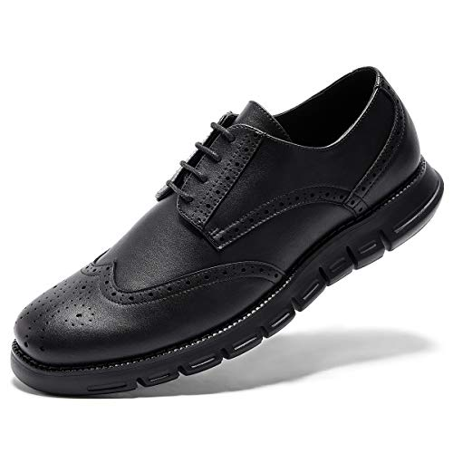 Men's Oxford Sneaker Dress Shoes-Stylish Wingtip Brogue Oxfords Formal Work Shoes Classic Lace Up Black 10