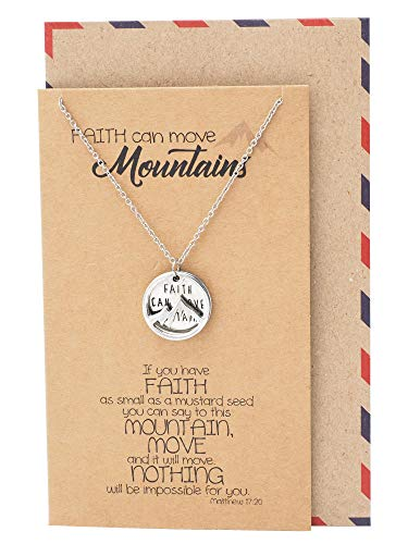 Quan Jewelry Inspirational Gifts for Women Mountain Pendant Faith Necklace, Bible Verse Inspired Charm with Greeting Card -