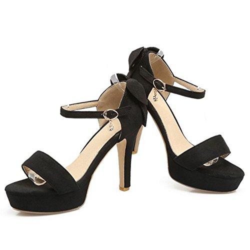COOLCEPT Mujer Moda Correa de Tobillo Sandalias Punta Abierta Plataforma Tacon Ancho Zapatos con Bowknot negro