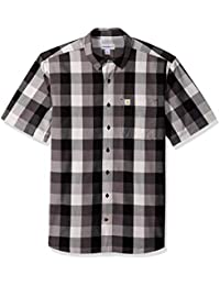 6e4824c516f Men s Big and Tall Big   Tall Essential Plaid Open Collar Short Sleeve Shirt