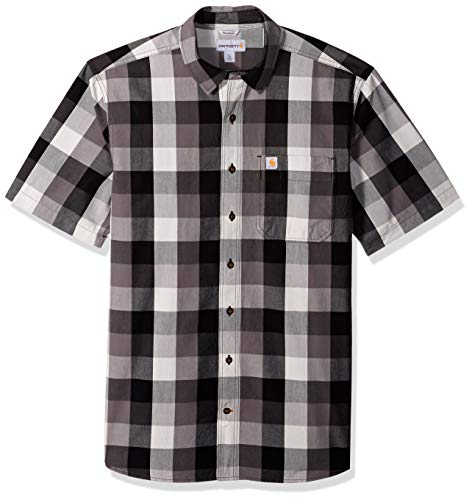 Carhartt Men's Big and Tall Big & Tall Essential Plaid Open Collar Short Sleeve Shirt, Charcoal, 4X-Large