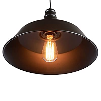 MY CANARY Industrial Vintage Hanging Pendant Light, Rustic Ceiling Chandelier Lamp with Black Metal Pot Cover Shade, Kitchen Overhead Light Fixtures Lighting