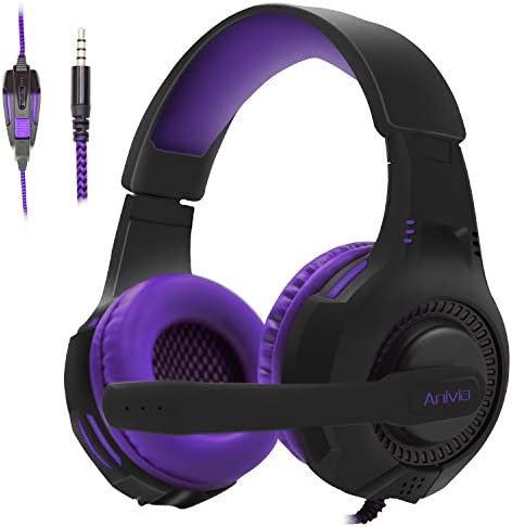 PS4 HEADSET PC GAMING HEADSETS FOR XBOX ONE - AH68 3.5MM WIRE OVER EAR HEADPHONE WITH MIC, VOLUME CONTROL, NOISE ISOLATING FOR PLAYSTATION4, LAPTOP, NINTENDO SWITCH, WII, PSP, MP3, SMARTPHONES, TABLET
