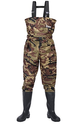 Ouzong Cleated Fishing Hunting 2-Ply Nylon/PVC Waterproof Boot-foot Chest Wader, Camo – 11