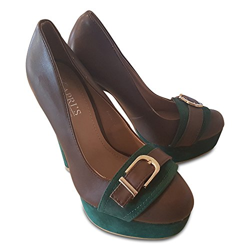 Colour Court Collection Kapri's Suede With Gold amp; Brown Leather Two Shoe Buckle Contrast Platform E1dww8Tq