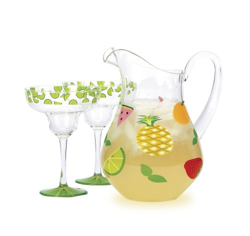 Hand Painted Glass Pitcher (CR Gibson Lolita Acrylic Pitcher, Fruit)