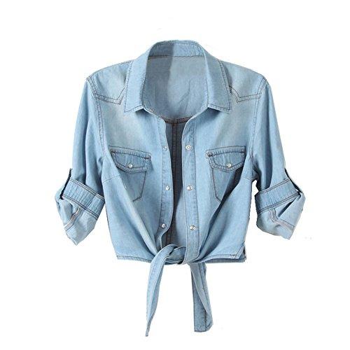 Denim Womens Tieclasps Short Design Denim Blouse Size Xl Half Sleeve Light Blue