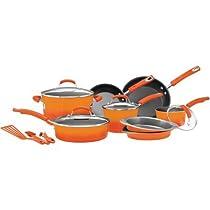 Rachael Ray 15-Piece Hard Enamel Nonstick Cookware Set | Oven-Safe to 350 Degrees (Orange)