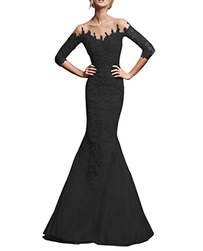 Black QiJunGe 3 Evening Sleeves Gowns Appliques Prom Dress 4 Lace Modest Homecoming rAqxZPwr