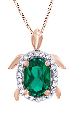 Sapphire Turtle - Jewel Zone US Simulated Green Emerald & White Sapphire CZ Turtle Halo Pendant Necklace in 14k Rose Gold Over Sterling Silver