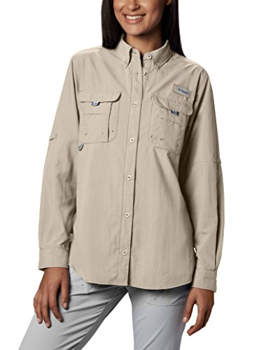 (Columbia Women's PFG Bahama II Long Sleeve Shirt, Breathable, UV Protection, Fossil, Medium)