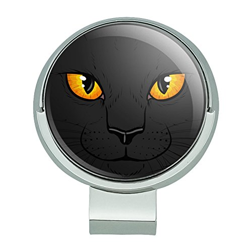 GRAPHICS & MORE Black Cat Face Pet Kitty Golf Hat Clip with Magnetic Ball ()