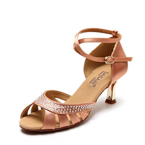 BYLE Sandalias de Cuero Tobillo Modern Jazz Samba Zapatos de Baile Zapatos de Baile Latino en el Suelo Blando de Baile Latino de Zapatos de Tacón Alto DE 35 Adultos.