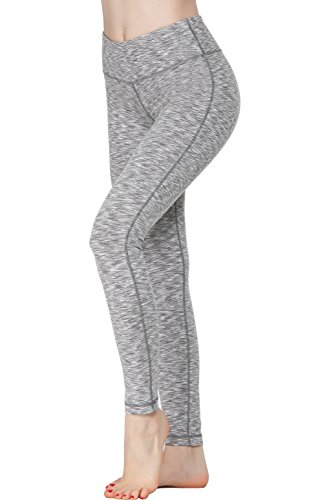 (Oalka Women Power Flex Yoga Pants Workout Running Leggings Grey XL)