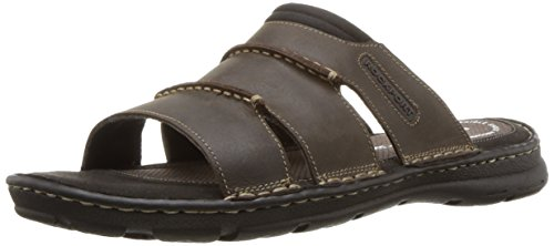 Rockport Men's Darwyn Slide Sandal, Brown Ii Leather, 9 M US (Mens Rugged Casual Sandal)