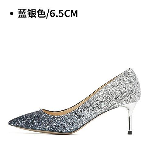 HUAIHAIZ Tacones de mujer Zapatos de boda hembra los zapatos de tacón alto de matrimonio bodas noche zapatos zapatos de cristal. Blue Silver 6.5CM