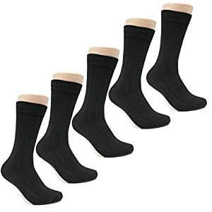 Beverly Hills Polo Club Mens Classic Ribbed Black Business Dress Socks Size 10-13 (10-pack)