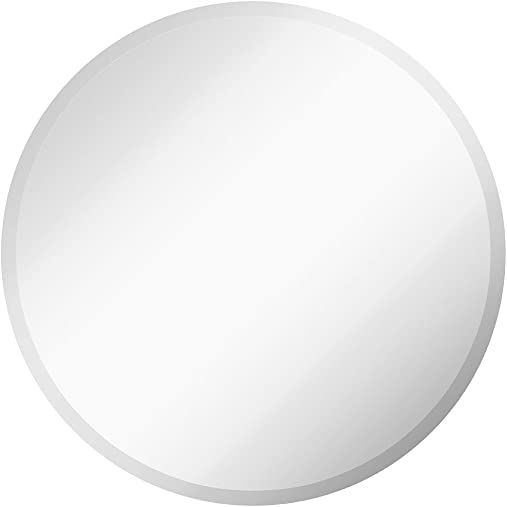 Hamilton Hills Large Simple Round 1 Inch Beveled Circle Wall Mirror Frameless 30 Inch Diameter Circular Mirror