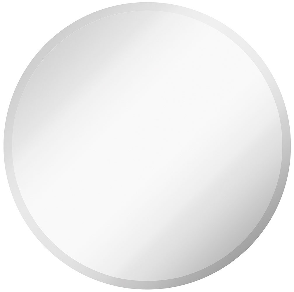 "Large Simple Round 1 Inch Beveled Circle Wall Mirror | Frameless 30 Inch Diameter Circular Mirror With a Silver Backed Rounded Mirrored Glass Panel | Best for Vanity, Bedroom, or Bathroom (30"" x 30"")"