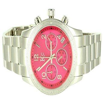 Mens Unique Kc Techno Com Purple Pink Face White Finish Diamond 316 Steel watch