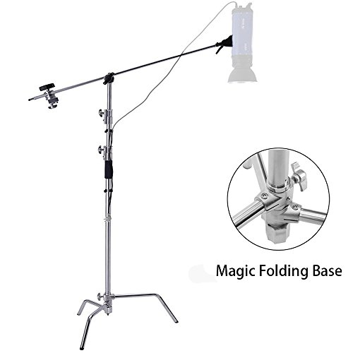Selens 40'' Stainless Steel Multi-function Photography Studio Heavy Lighting Century C Stand with Folding Legs, Grip Head and Arm Kit, Chrome by Selens