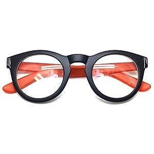 Classic Round Horn Rimmed Eye Glasses Clear Lens Oval Non Prescription Frame (Black Orange 8071, Clear)