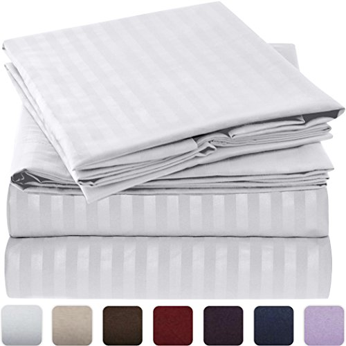 Mellanni Striped Bed Sheet Set - HIGHEST QUALITY Brushed Microfiber 1800 Bedding - Wrinkle, Fade, Stain Resistant - Hypoallergenic - 4 Piece (Queen, White) (Luxurious Home Decor)