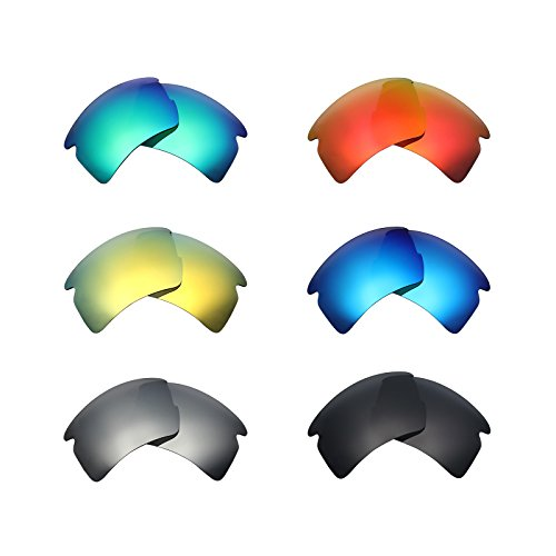 Mryok 6 Pair Polarized Replacement Lenses for Oakley Flak 2.0 XL Sunglass - Stealth Black/Fire Red/Ice Blue/Silver Titanium/Emerald Green/24K Gold by Mryok