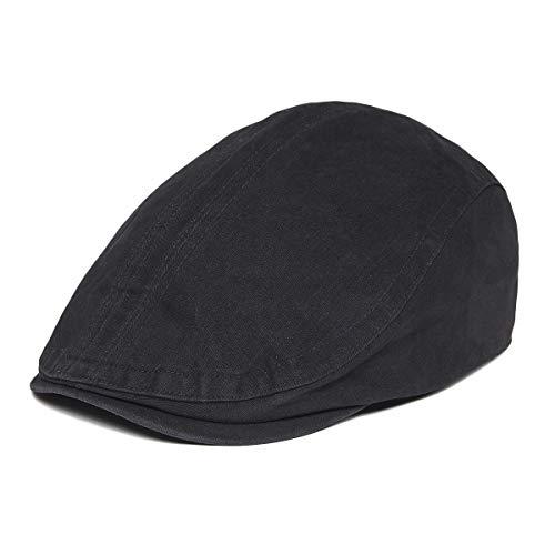 VOBOOM Men Denim Jeans Newsboy Beret Hat Duckbill Buckle Cabbie Cap (Style3-cotton/black)