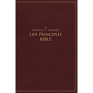 NIV, The Charles F. Stanley Life Principles Bible, Leathersoft, Burgundy Imitation Leather – August 29, 2017
