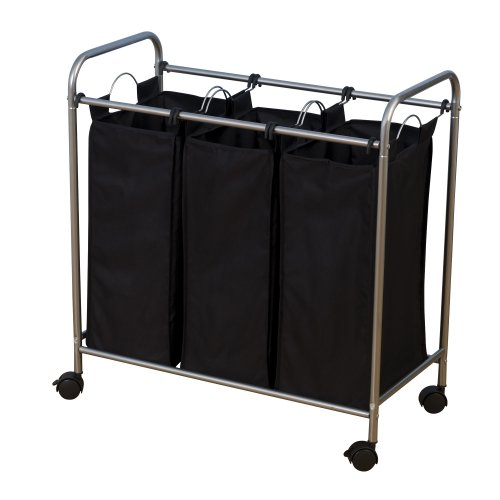 Household Essentials 7044 Triple Laundry Sorter on Wheels - Black and Grey (3 Compartment Laundry Basket)