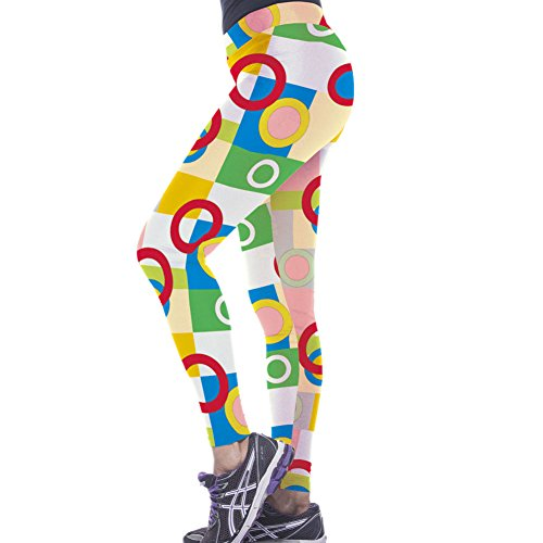 Pinkyee de mujer de Yoga de ejercicio pantalones color block Círculos