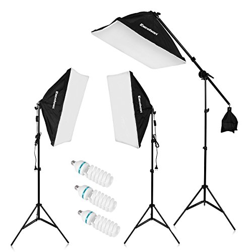 "Excelvan 2000W Photography Studio LED Lighting Kit 20x25"" Auto Pop-up Soft Box with 80"" Light Stand and 135W LED Lamp, SHOX-012 (Kit Studio Lighting)"