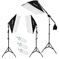 "Excelvan SHOX-012 2000W Photography Studio LED Lighting Kit 20x25"" Auto Pop-up Softbox + 80"" Light Stand + 135W LED Lamp"