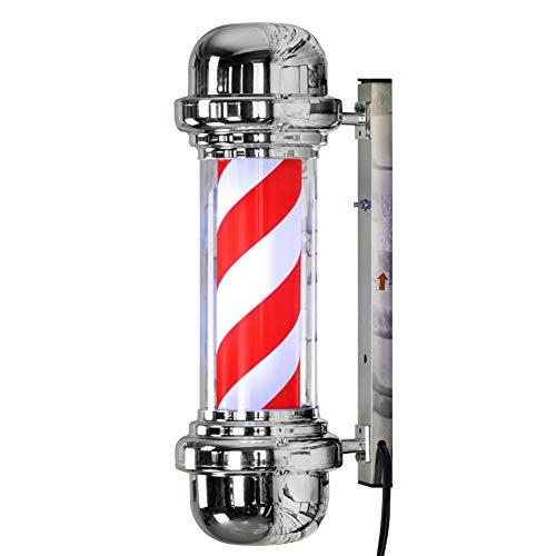 LED Barberos Polo Iluminador Rotativo Salón Letrero Luz Rojo Blanco 57cm Grande Muy brillante - No regular Bombillas...