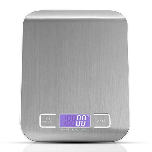 Digital Food Scale,Electric Food Balance Scale Precise Baking Scale Accuracy with LCD Display and Tare Function, 11lb 5kg, Silver, Stainless Steel by JISUSU