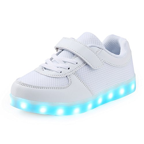 SAGUARO Jungen Mädchen Turnschuhe USB Lade Flashing Schuhe Kinder LED Leuchtende Schuhe Weiß-1