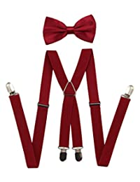 JAIFEI Men's X Back Suspenders & Bowtie Set - Perfect For Weddings & Formal Events (Burgundy)