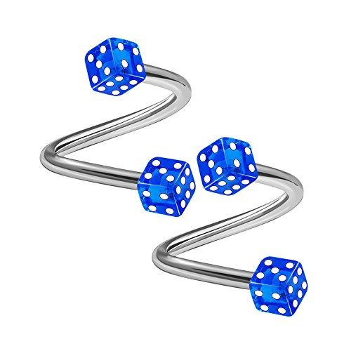 - 2PCS Stainless Steel Spiral Barbell 16 gauge 5/16 8mm 3mm Dark Blue Dice Lobe Labret Earrings Cartilage Piercing Jewelry 1765