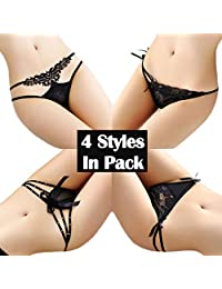 RUNSONE Women's Sexy Undies Panties Lace Underwear Thong Cute G-String Lingerie for Women