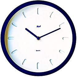 The Kef Clock by Marksson 》Round Modern contemporary design. This 10 Quartz, Navy Blue wall clock is Non-Ticking and 100% Silent. Perfect wall décor for any bedroom, office, kitchen or lounge room.
