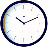 """The Kef Clock by Marksson 》Round Modern contemporary design. This 10"""" Quartz, Navy Blue wall clock is Non-Ticking and 100% Silent. Perfect wall décor for any bedroom, office, kitchen or lounge room."""