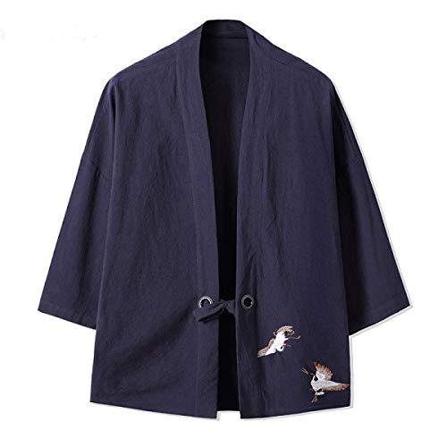 XuBa 2019 Nuevo HZIJUE Bordado Japonés Harajuku Kimono Camisa de Lino Hombres Swag Moda Retro Origen Tops Marca de Ropa Blue...