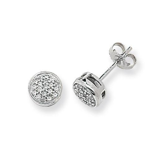 Diamant Boucles d'oreilles clous Femme-Or blanc 9Ct Dr 0,15