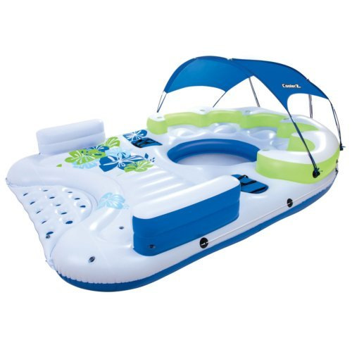 CoolerZ X5 Canopy Island Inflatable Floating River Raft (White Canopy Floating)