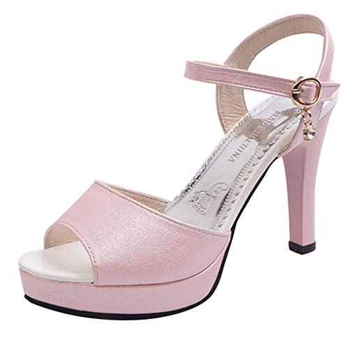 Heeled Sandals for Women Ankle Strap,FAPIZI Lady Round Toe Shoes One Word Buckle High Heel Non-Slip Sandals Pink