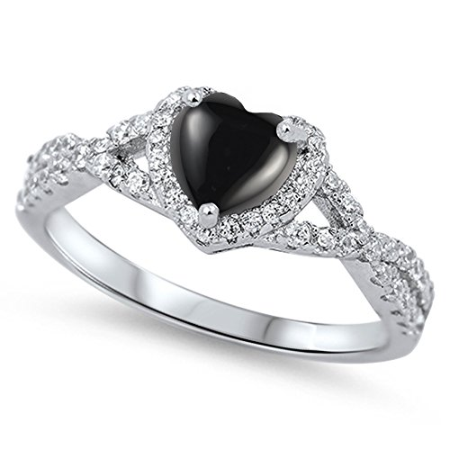 (925 Sterling Silver Cabochon Natural Genuine Black Onyx Heart Halo Promise Ring Size 7)