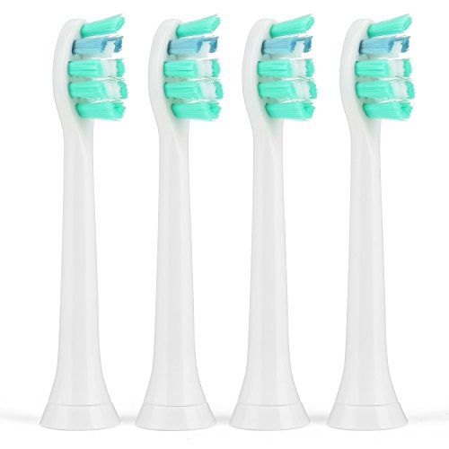 Sonicare Toothbrush Replacement Heads Electric Toothbrush Heads w/ Cap by ITERY for Philips Sonicare Proresults Diamondclean Flexcare Healthy White Plaque Control Gum Health Sonicare 3 series - 4 Pack