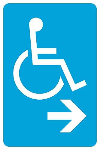 Blue Handicap Symbol Right Arrow Business Office Parking Car Lot Sign