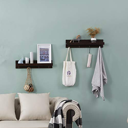 Hombazaar Set of 2 Entryway Wall Mounted Coat Rack Shelf, Wood Floating Shelves with 4 Hooks for Hallway Bathroom and Kitchen (Espresso, 23.8